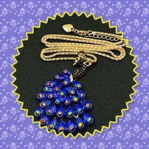 Betsey Johnson Blue Rhinestone Peacock Necklace